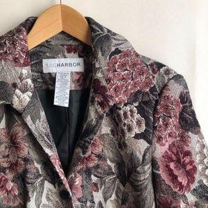 VINTAGE Gray Pink Jacquard Floral Blazer Jacket 10